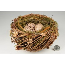 Nest Fancy Nat. Twig/Moss/Brn Egg 7""