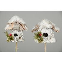 """Birdhouse A&Rd-Shape Birch/Snow Pick Asst*2 2.5"""""""