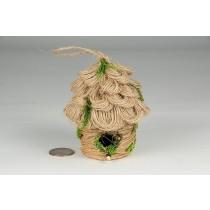 """Birdhouse Rd-Shape Jute/Grass/Moss 3.5"""""""