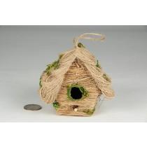 """Birdhouse A-Shape Jute/Grass/Moss 3.5"""""""