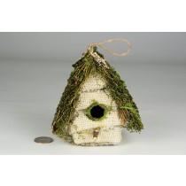 "Birdhouse A-Shape Grass/Burlap 4.5"""