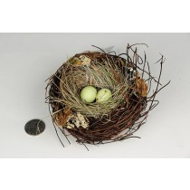Nest Brown Twig/Grn Grass/Egg 4.5""
