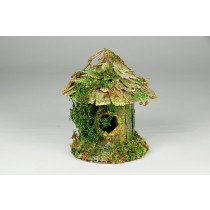 Birdhouse Rd-Shape Bark/Moss 4""