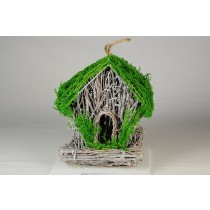 Birdhouse A-Shape Twig/Grn Breath 6""