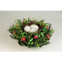 Nest Fancy Green Twig/Grn Berry/Egg 7""