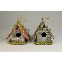 """Birdhouse A-Shape Woodchip w/Moss Asst*2 3"""""""