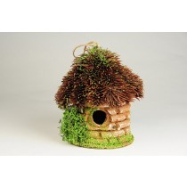 "Birdhouse Rd-Shape Nat. Thistle Roof 5""x5""H"