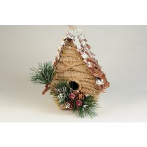 Birdhouse A-Shape Chip/Burlap/Snow/Cone/Berry 6.5""