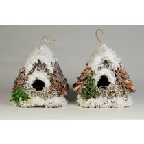 Birdhouse A-Shape Chip/Shell/Snow Asst*2 3""