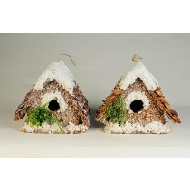 Birdhouse A-Shape Chip/Shell/Snow Asst*2 3.5""