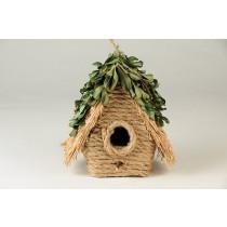 "Birdhouse A-Shape Jute/Grn Leaf/Rope 4.5"""