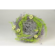 Nest Fancy Wht Twig/Moss w/Yel Flower 6.5""