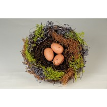 Nest Fancy Brn Twig/Grass/Egg 6.5""
