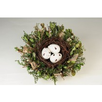 Nest Fancy Brn Twig/Greens/Egg 7""