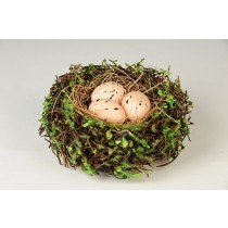 Nest Brown Twig/Greens/Egg 4""