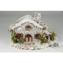 """House Snow Nat. Bark Roof 8""""x5""""H"""