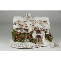 "House Snow Nat. Bark Roof w/Berry 8""x6""H"