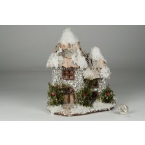"House Snow Nat. Bark Roof w/Berry 7""x8""H"