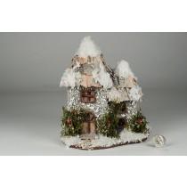 "House Snow Nat. Bark Roof w/Berry 7""x8""H"