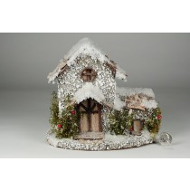 "House Snow Nat. Bark w/Berry 8""x7.5""H"