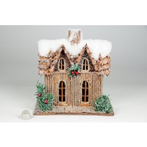 "House Snow Nat. Log w/Berry 8.5""x5.5""x9H"