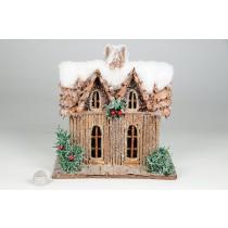 "House Snow Nat. Log w/Berry 8.5""x5.5""x9H"