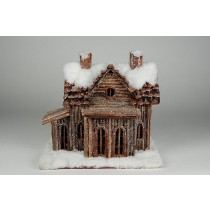 "House Snow Log Cabin 10""x9.5""H"