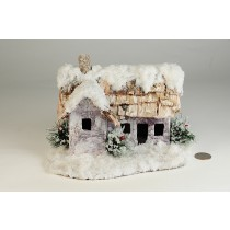 "House Snow Nat. Bark Roof 7""x8""H"