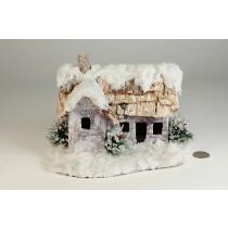 """House Snow Nat. Bark Roof 7""""x8""""H"""