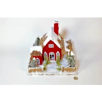 House Red Cone Roof w/Fence/Snow 11.5""