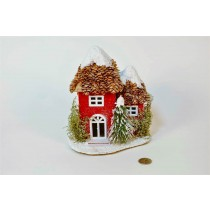 """House Red w/Cone Roof/Snow 7.5"""""""