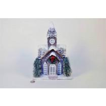 """House Brown Plaid w/Wreath Snow 12"""""""