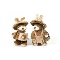 """Rabbit Boy & Girl w/Hat Asst*2 6"""""""