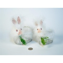Rabbit Head White w/Wire Container 4.5""