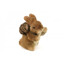 Rabbit Brown Jute Standing w/Hand Out 6""