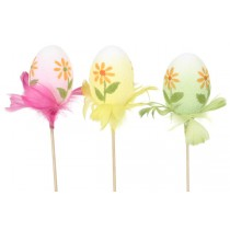 Egg Pick Painted w/Flower Asst*3 3""
