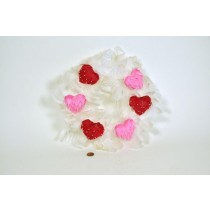 Wreath White Feather w/Red Hearts 14""