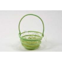 "Easter Basket Circular Grn w/Jute 3.5"""