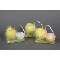 Chick Fuzzy Yellow w/Egg Basket Asst*3 5.5""