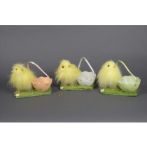 Chick Fuzzy Yellow w/Egg Basket Asst*3 4""