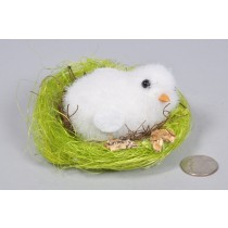 Chick White Fur in Grn Nest 3""