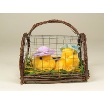 Chick Yellow Fur w/Hat Pair In Cage 5""