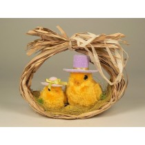 Chick Yellow Fur w/Hat Pair 11""