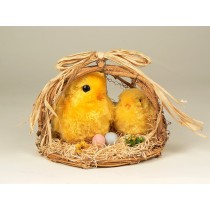 "Chick Yellow Fur Pair On Basket 7.5""H"