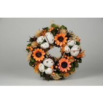 Wreath Egg Nat. w/Org Flower/Thristle/Leaf 9""