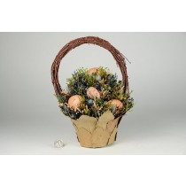 Egg Basket Grn/Blue Arrangement 11""