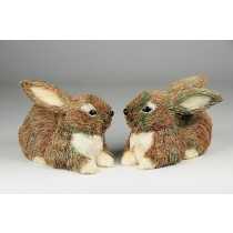 Rabbit Brn Grass Sitting Asst*2 6""