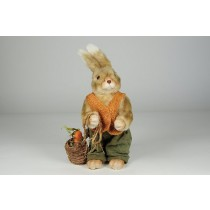Rabbit Beige Fur w/Org/Grn Clothes Asst*2 12""