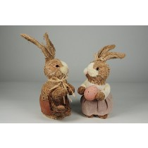 "Rabbit Nat. Jute w/Brn/Pnk Clothes Asst*2 12"""