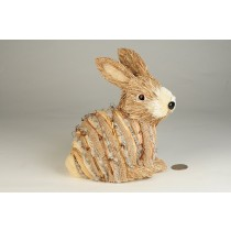 "Rabbit Nat. Jute w/Burlap Wrap 6.5"""
